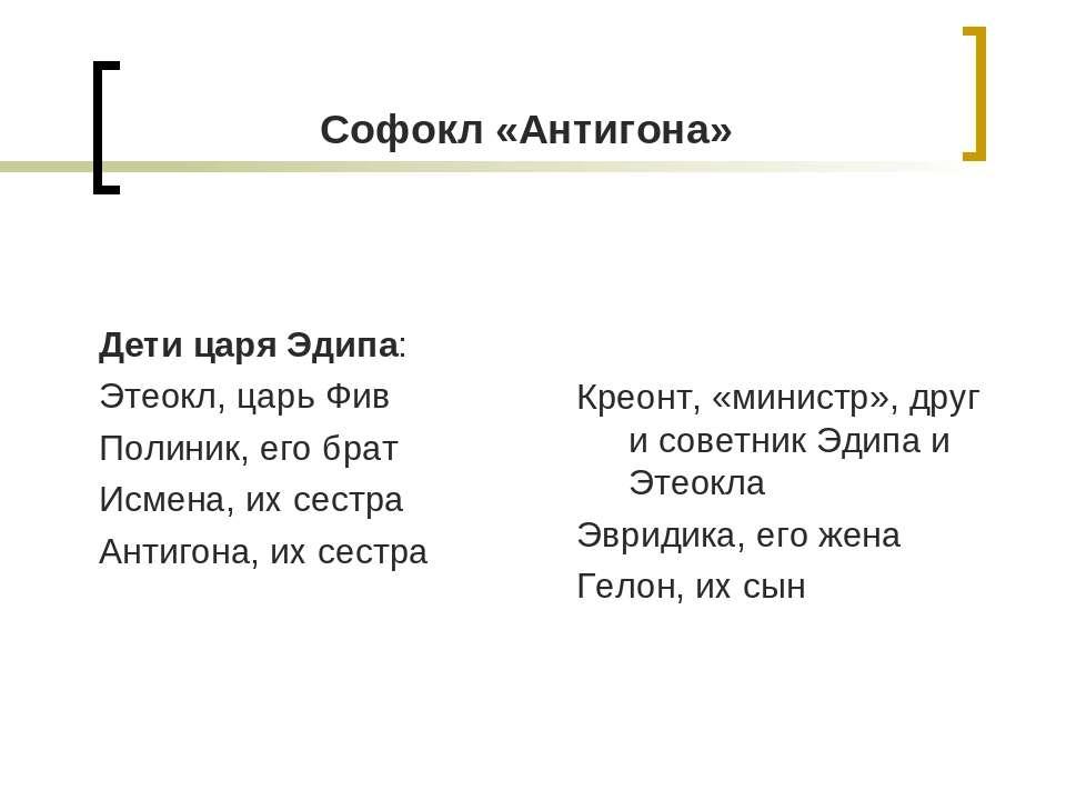 Софокл «Антигона» Дети царя Эдипа: Этеокл, царь Фив Полиник, его брат Исмена,...