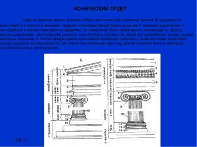 1.12.11 ИОНИЧЕСКИЙ ОРДЕР Один из архитектурных ордеров, общих для греческой и...