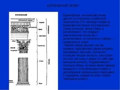 1.12.11 КОРИНФСКИЙ ОРДЕР Коринфский, возникший позже других и отличался особе...
