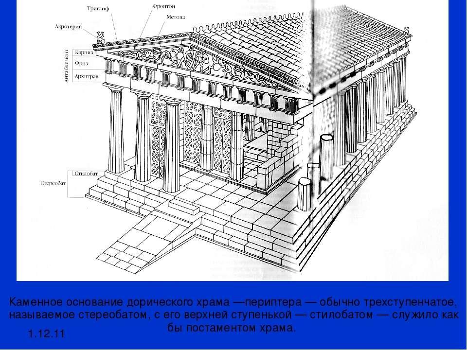 1.12.11 Каменное основание дорического храма —периптера — обычно трехступенча...
