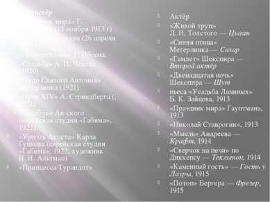 Режиссёр «Праздник мира» Г. Гауптмана (15 ноября 1913г) «Потоп» Г.Бергера (2...
