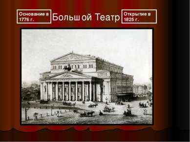 Большой Театр Открытие в 1825г. Основание в 1776 г.
