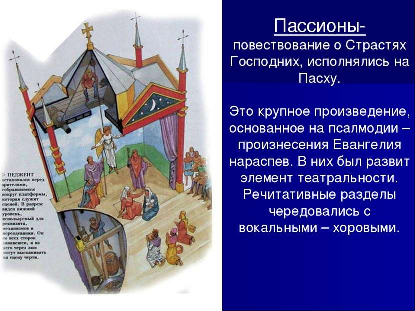 Пассионы- повествование о Страстях Господних, исполнялись на Пасху. Это крупн...