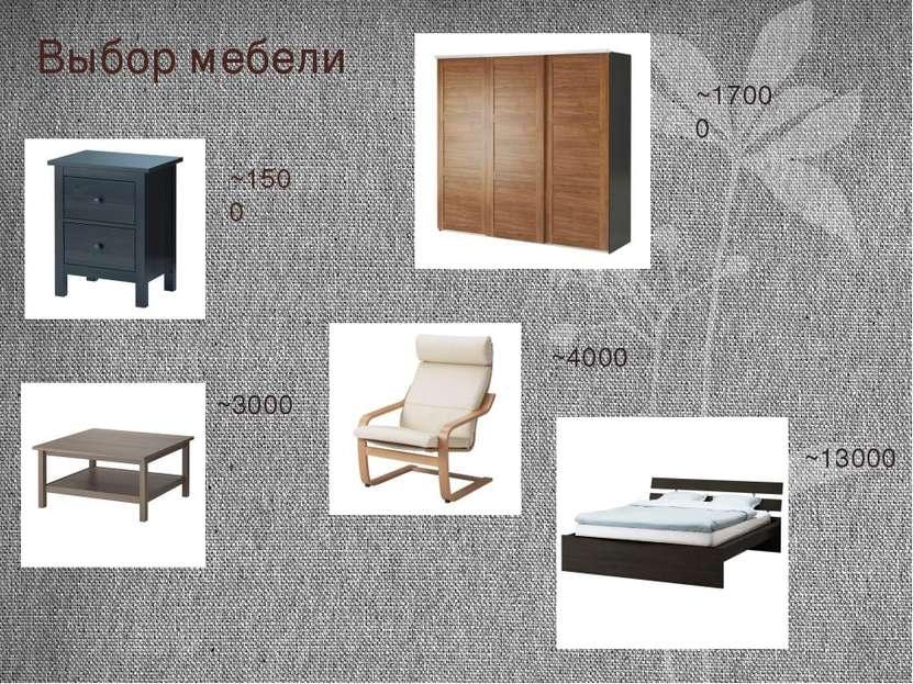 Выбор мебели ~1500 ~3000 ~17000 ~13000 ~4000