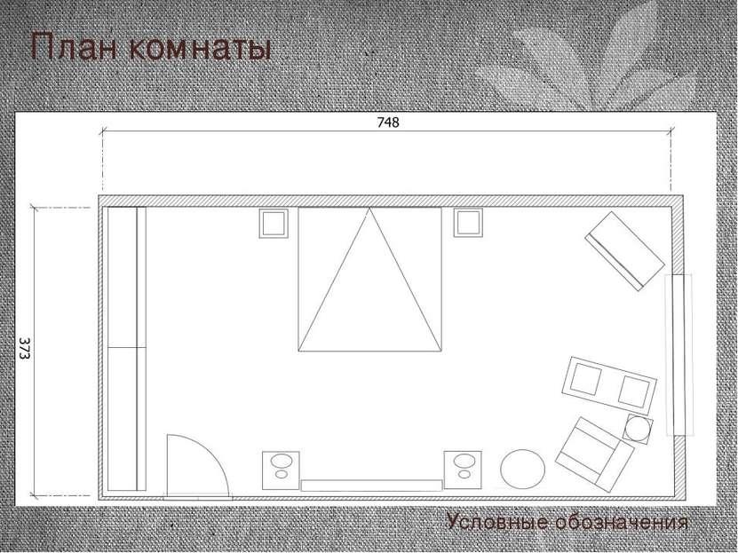 План комнаты Условные обозначения