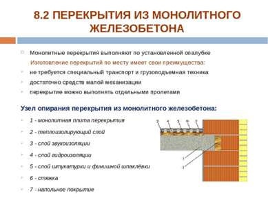 Монолитные перекрытия выполняют по установленной опалубке Изготовление перекр...