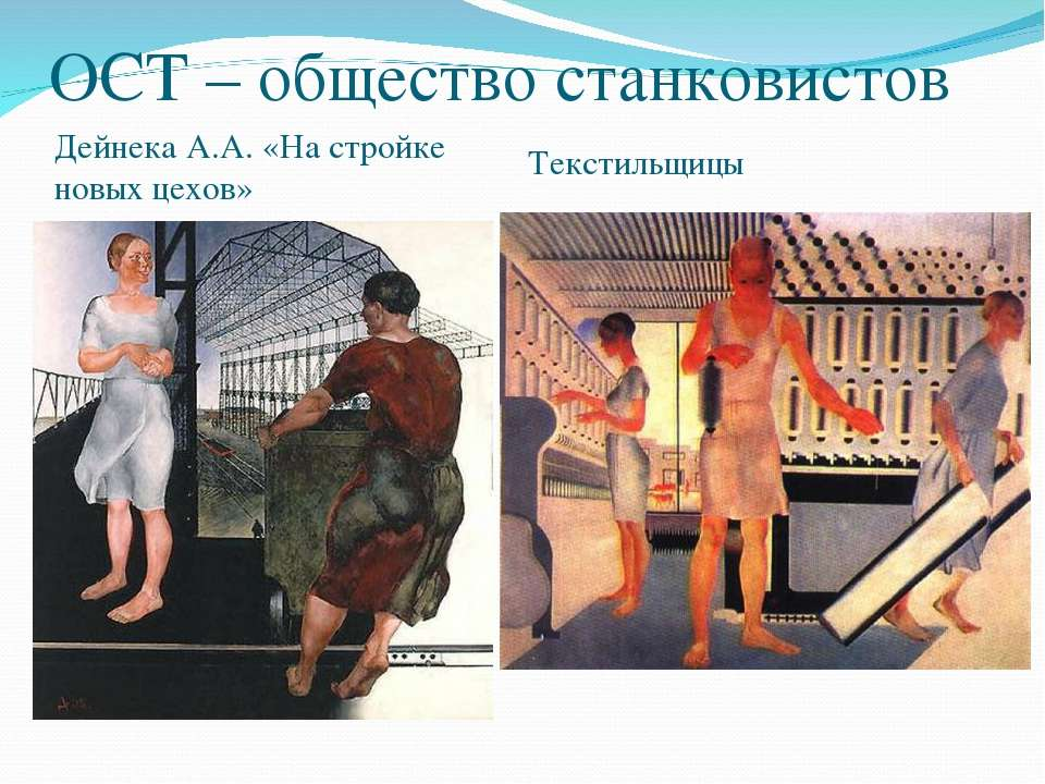 ОСТ – общество станковистов Дейнека А.А. «На стройке новых цехов» Текстильщицы