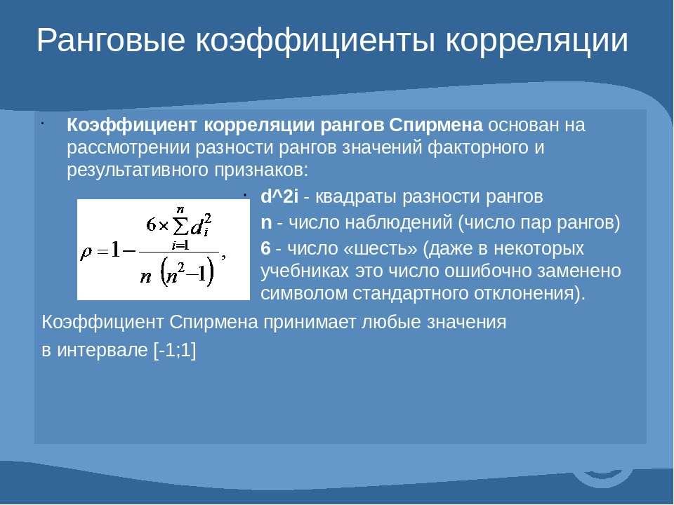 Ранговые коэффициенты корреляции Коэффициент корреляции рангов Спирменаоснов...