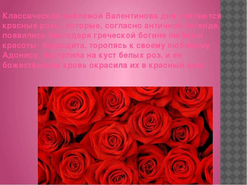 Классической эмблемой Валентинова дня cчитаютcя красные розы, которые, соглас...