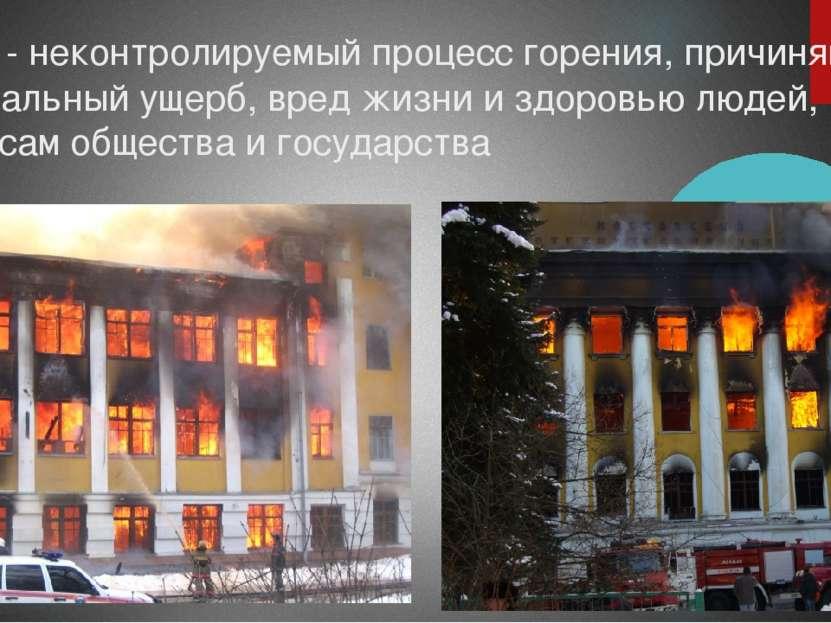 Пожар - неконтролируемый процесс горения, причиняющий материальный ущерб, вре...
