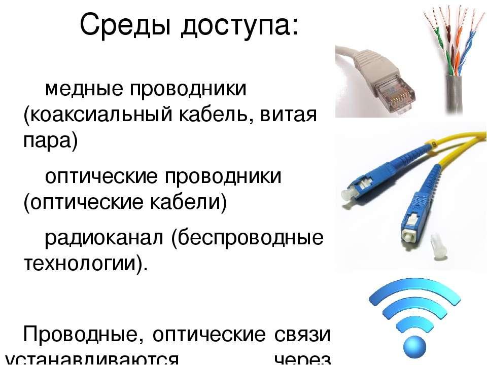 Среды доступа: медные проводники (коаксиальный кабель, витая пара) оптические...