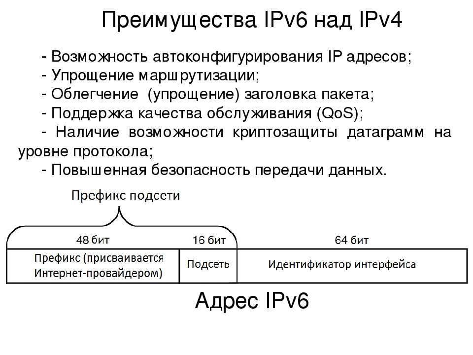 Преимущества IPv6 над IPv4 - Возможность автоконфигурирования IP адресов; - У...