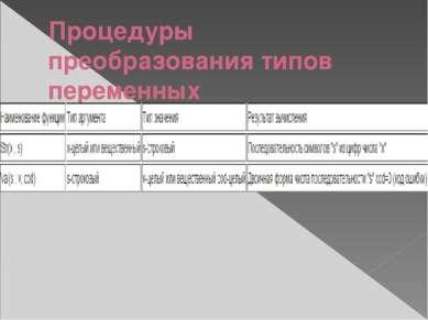 Процедуры преобразования типов переменных
