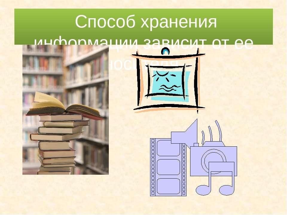 Способ хранения информации зависит от ее носителя