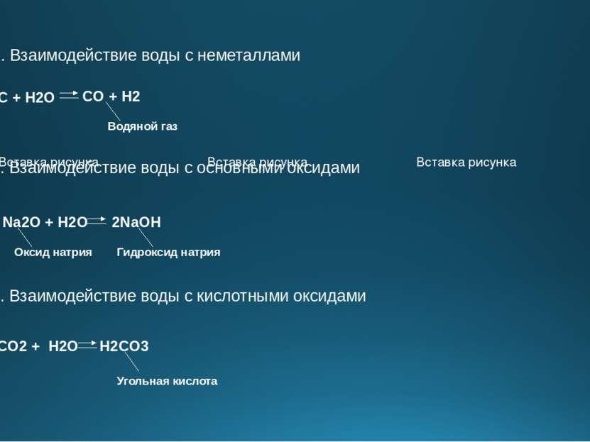 2. Взаимодействие воды с неметаллами С + H2O CO + H2 Водяной газ 3. Взаимодей...