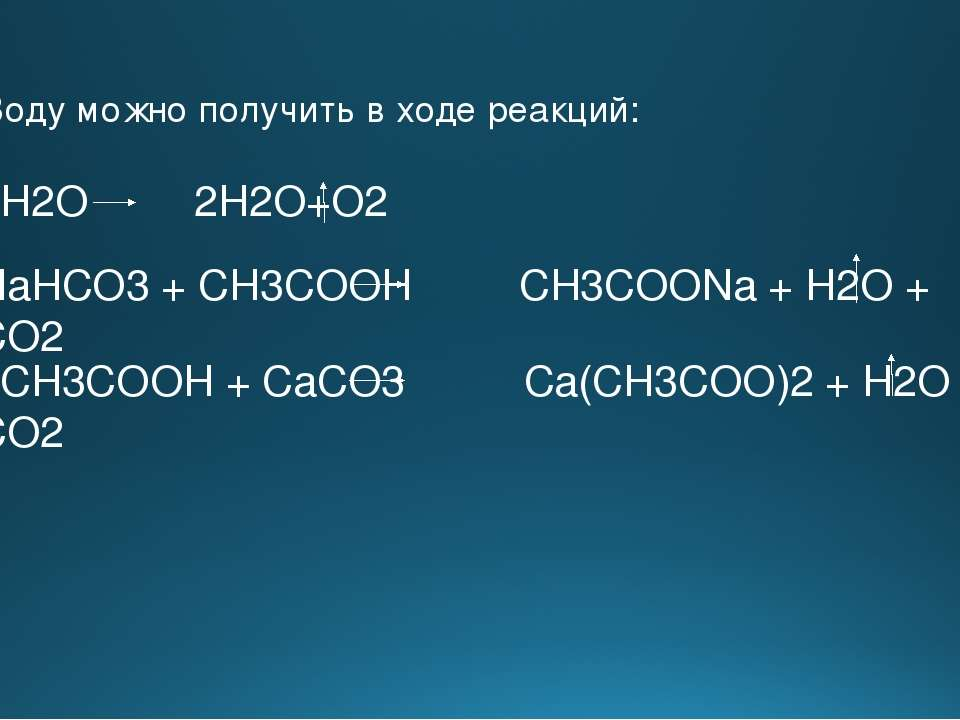 Воду можно получить в ходе реакций: 2H2O 2H2O+O2 NaHCO3 + CH3COOH CH3COONa + ...