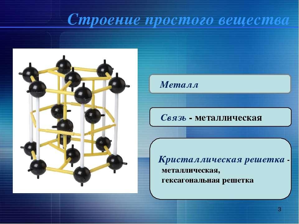 * Металл Связь - металлическая Кристаллическая решетка - металлическая, гекса...