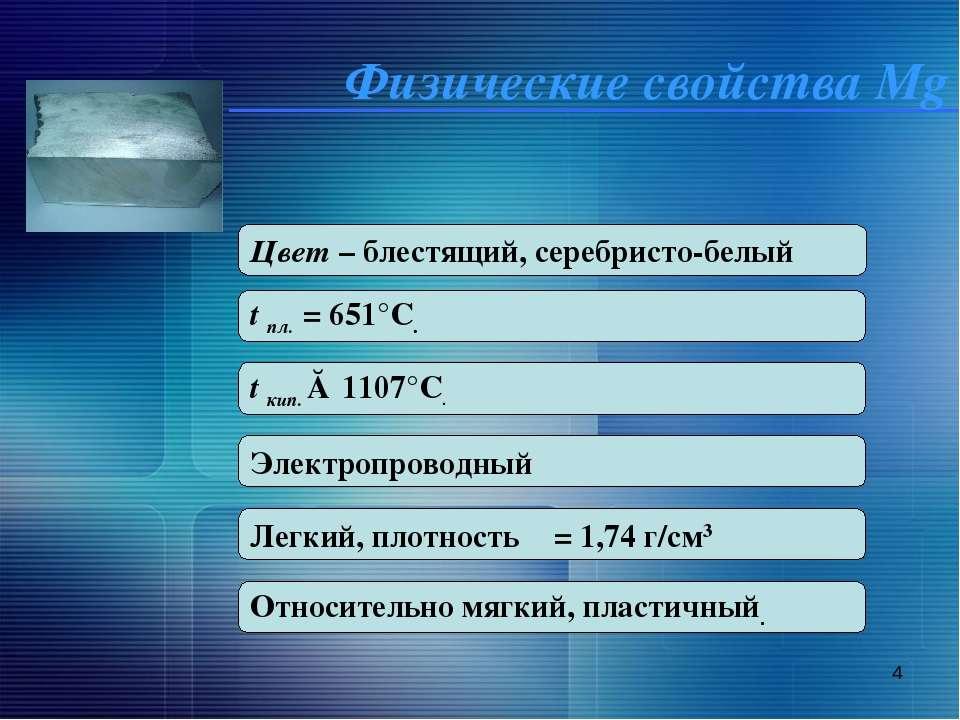 * Физические свойства Mg