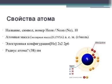 Свойства атома Название, символ, номер Неон / Neon (Ne), 10 Атомная масса (мо...