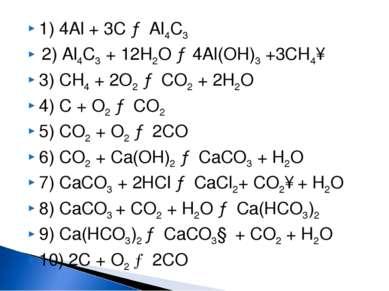 1) 4Al + 3С → Al4С3 2) Al4С3 + 12H2O → 4Al(OH)3 +3CH4↑ 3) CH4 + 2O2 → CO2 + 2...