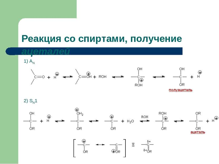 Реакция со спиртами, получение ацеталей 1) АN 2) SN1