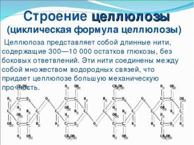 Строение целлюлозы (циклическая формула целлюлозы) Целлюлоза представляет соб...