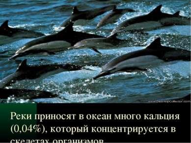 Реки приносят в океан много кальция (0,04%), который концентрируется в скелет...