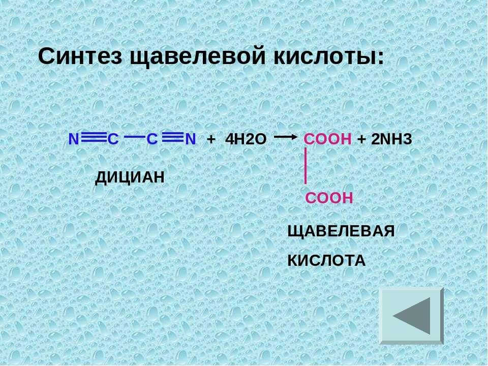 N C C N + 4H2O COOH + 2NH3 COOH ДИЦИАН ЩАВЕЛЕВАЯ КИСЛОТА Синтез щавелевой кис...