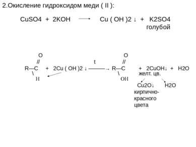 2.Окисление гидроксидом меди ( II ): CuSO4 + 2KOH Cu ( OH )2 ↓ + K2SO4 голубо...