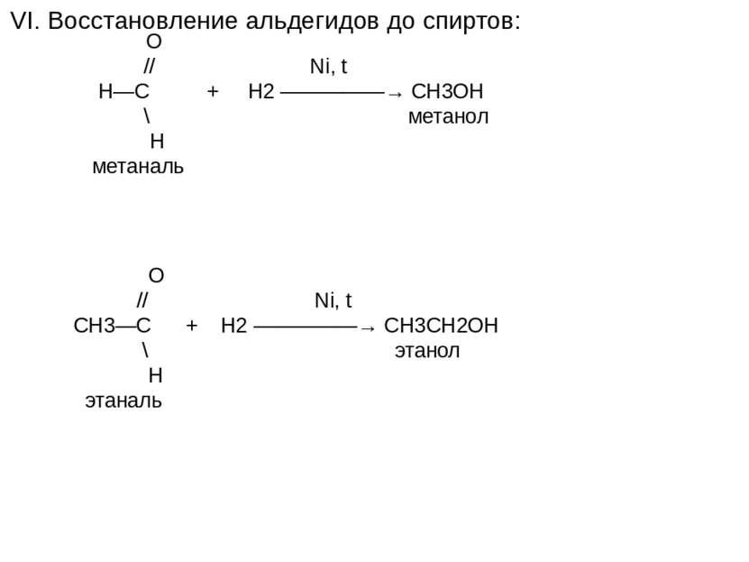 VI. Восстановление альдегидов до спиртов: O // Ni, t H—C + H2 —————→ CH3OH \ ...