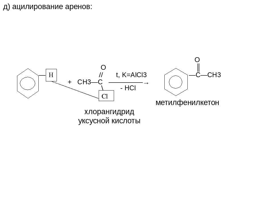 д) ацилирование аренов: H Cl O О ║ — // t, K=AlCl3 —C—CH3 + СН3—С —————→ \ - ...
