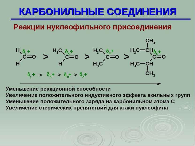 КАРБОНИЛЬНЫЕ СОЕДИНЕНИЯ Реакции нуклеофильного присоединения