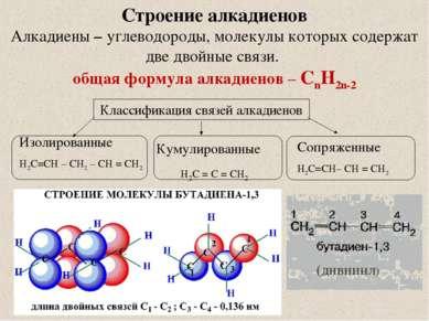 Строение алкадиенов Алкадиены – углеводороды, молекулы которых содержат две д...