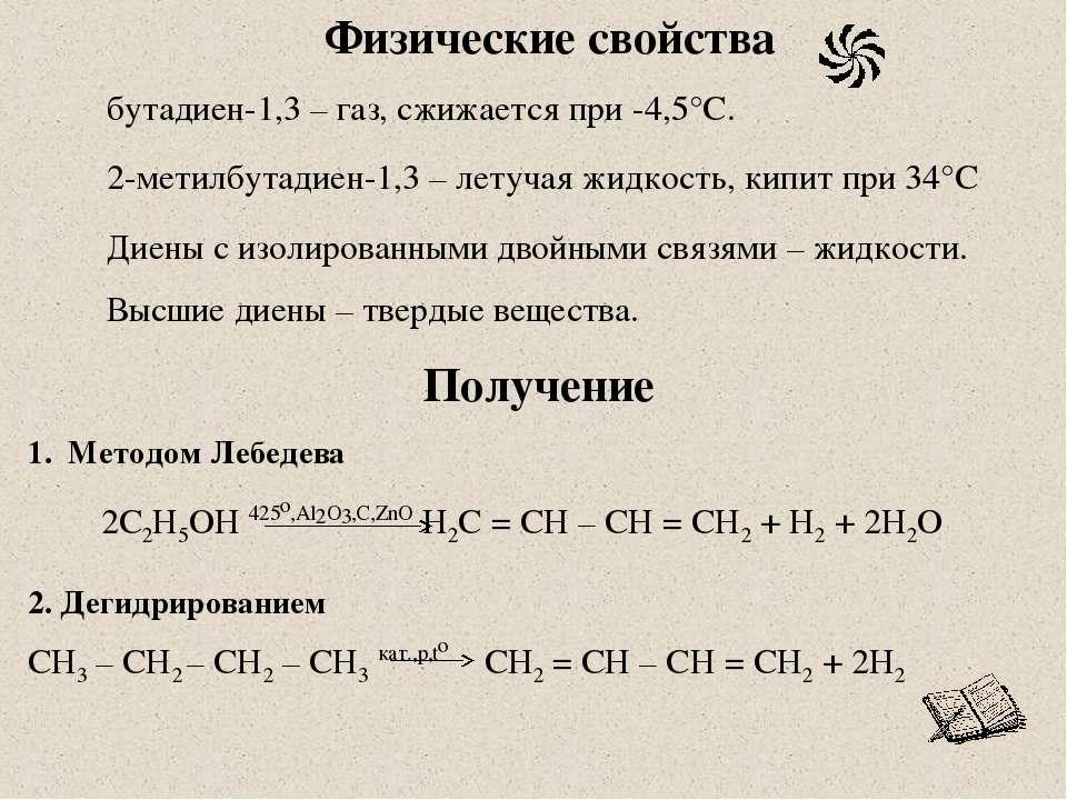 Физические свойства бутадиен-1,3 – газ, сжижается при -4,5°С. 2-метилбутадиен...