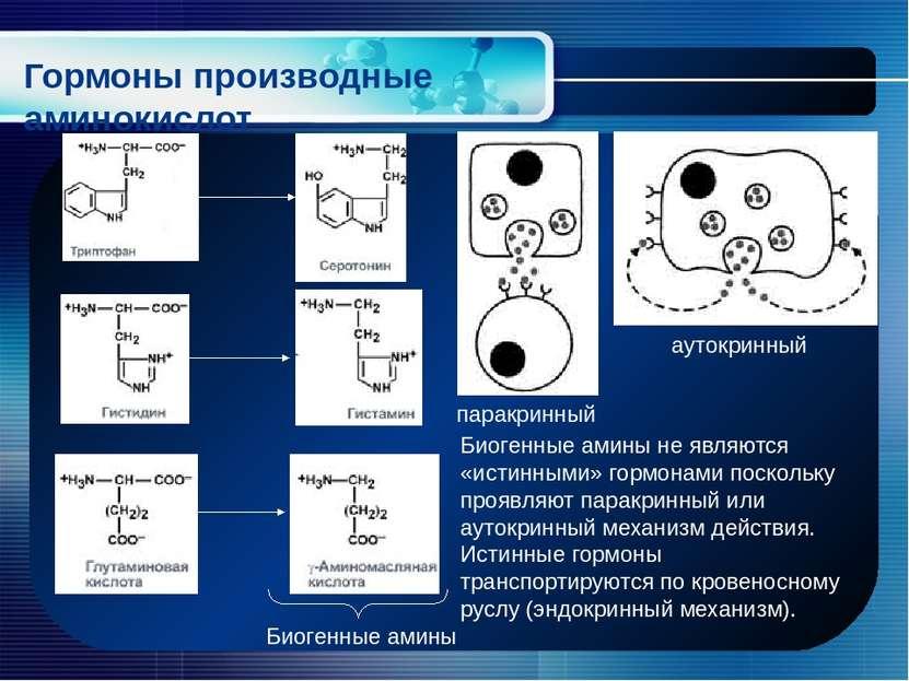 Гормоны производные аминокислот Биогенные амины Биогенные амины не являются «...