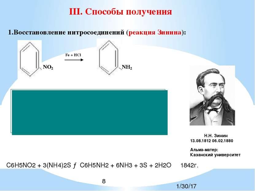 C6H5NO2 + 3(NH4)2S → C6H5NH2 + 6NH3 + 3S + 2H2O 1842г. Н.Н. Зинин 13.08.1812 ...