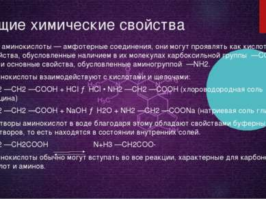 Общие химические свойства Все аминокислоты — амфотерные соединения, они могут...