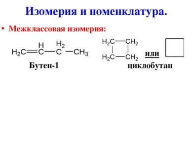 Межклассовая изомерия: или Бутен-1 циклобутан Изомерия и номенклатура.
