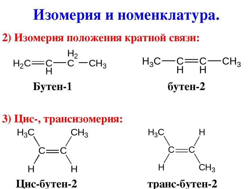 2) Изомерия положения кратной связи: Бутен-1 бутен-2 3) Цис-, трансизомерия: ...