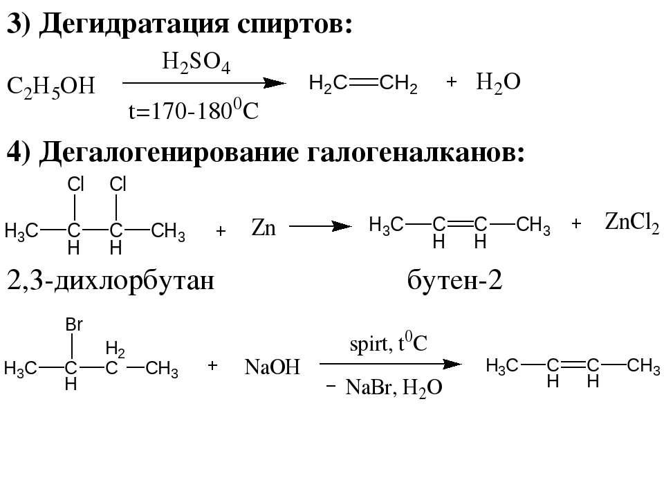 3) Дегидратация спиртов: 4) Дегалогенирование галогеналканов: 2,3-дихлорбутан...