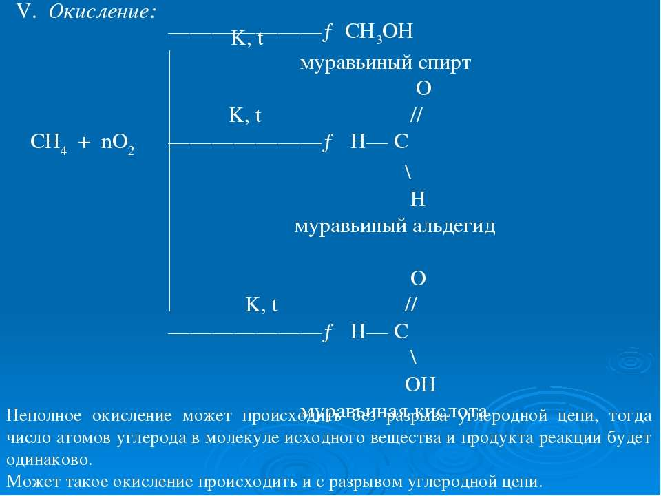 V. Окисление: K, t ———————→ CH3OH муравьиный спирт O K, t // СН4 + nO2 ——————...