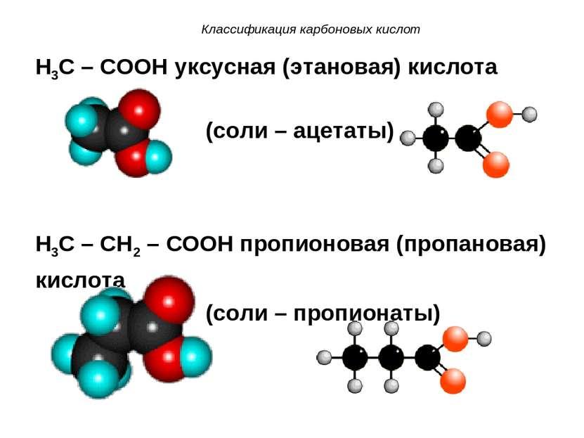 Классификация карбоновых кислот H3C – COOH уксусная (этановая) кислота (соли ...