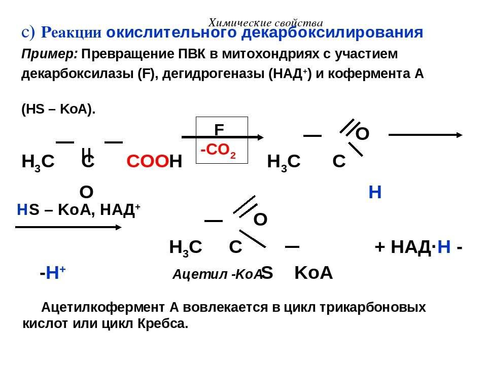 Химические свойства c) Реакции окислительного декарбоксилирования Пример: Пре...