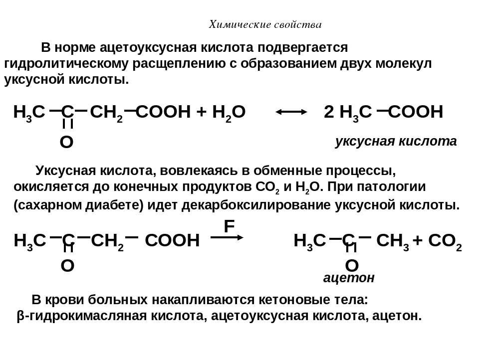 Химические свойства H3C C CH2 COOH + H2O 2 H3C COOH O В норме ацетоуксусная к...