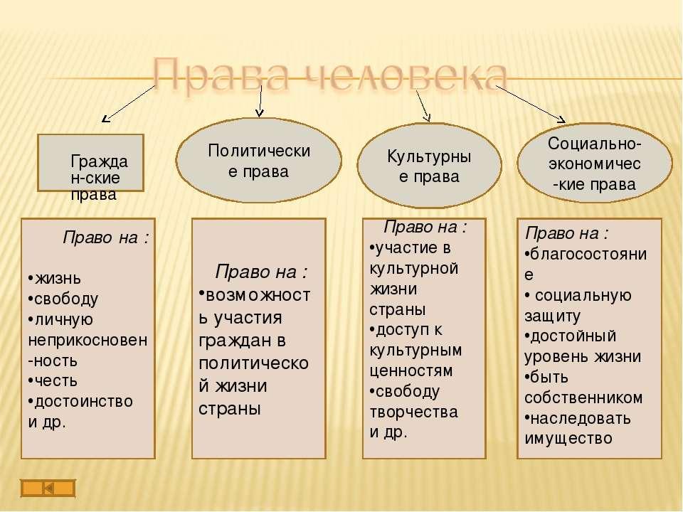 Политические права Граждан-ские права Социально-экономичес-кие права Культурн...