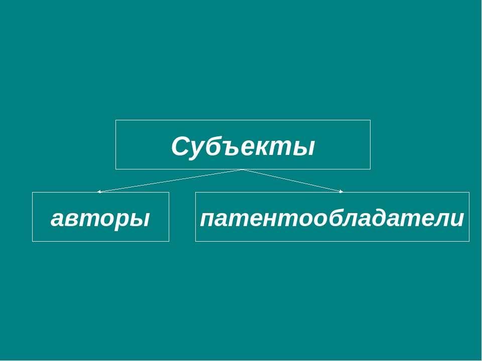 Субъекты авторы патентообладатели