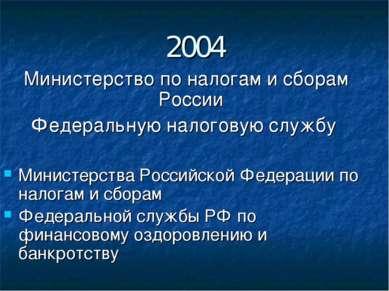 2004 Министерство по налогам и сборам России Федеральную налоговую службу Мин...