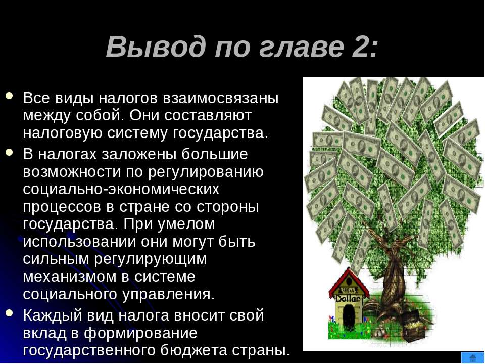 Вывод по главе 2: Все виды налогов взаимосвязаны между собой. Они составляют ...
