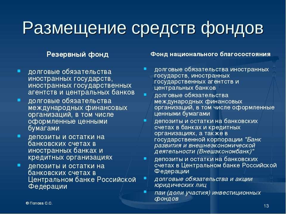 * Размещение средств фондов Резервный фонд долговые обязательства иностранных...