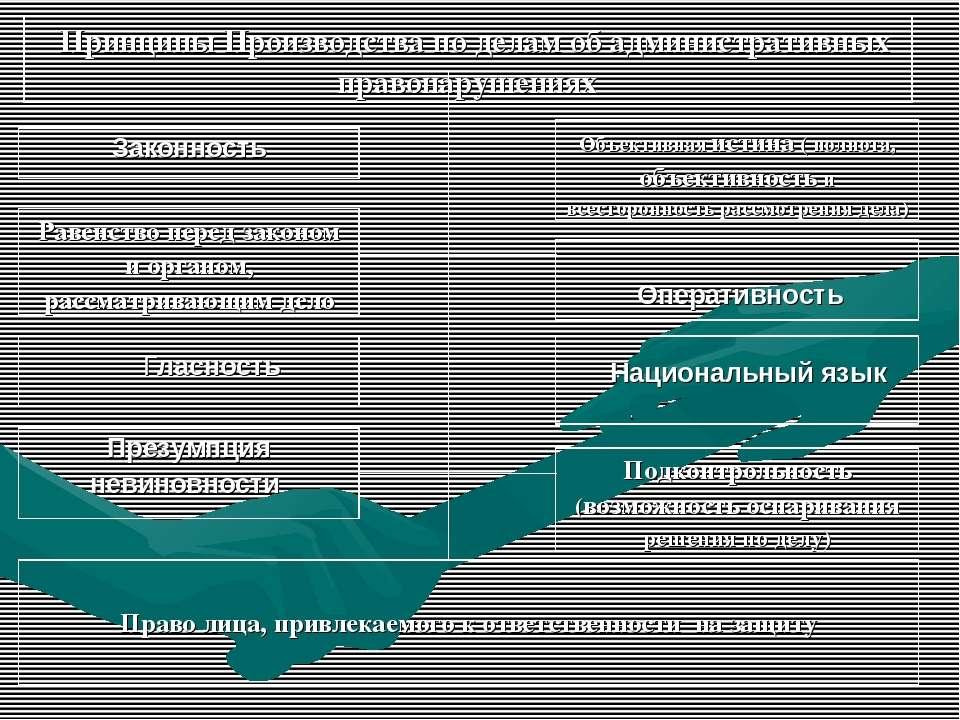 Принципы Производства по делам об административных правонарушениях Законность...